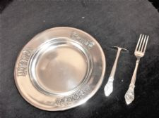 VINTAGE CHILDS GERO 90 DUTCH SILVER PLATED SNOW WHITE PLATE FORK & PUSH SPOON